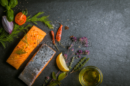 fresh gourmet uncooked salmon fillets
