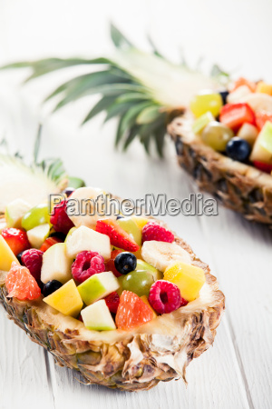 delicious, fruit, salad, in, pineapple, on - 14068251