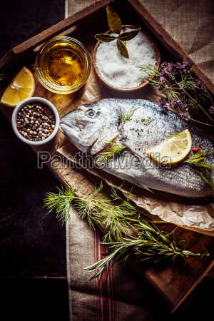 fresh, sea, bream, with, condiments, , herbs - 14068031