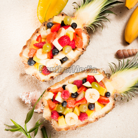 fresh, tropical, fruit, salad, served, outdoors - 14068231