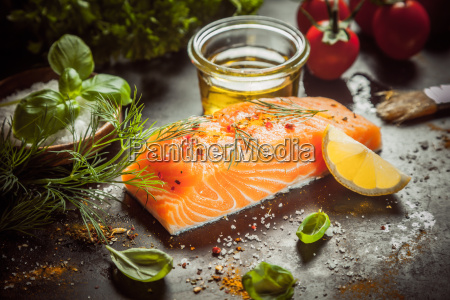 preparing, a, gourmet, salmon, meal - 14068001