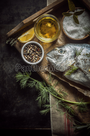 uncooked, fresh, fish, with, herbs, and - 14068045