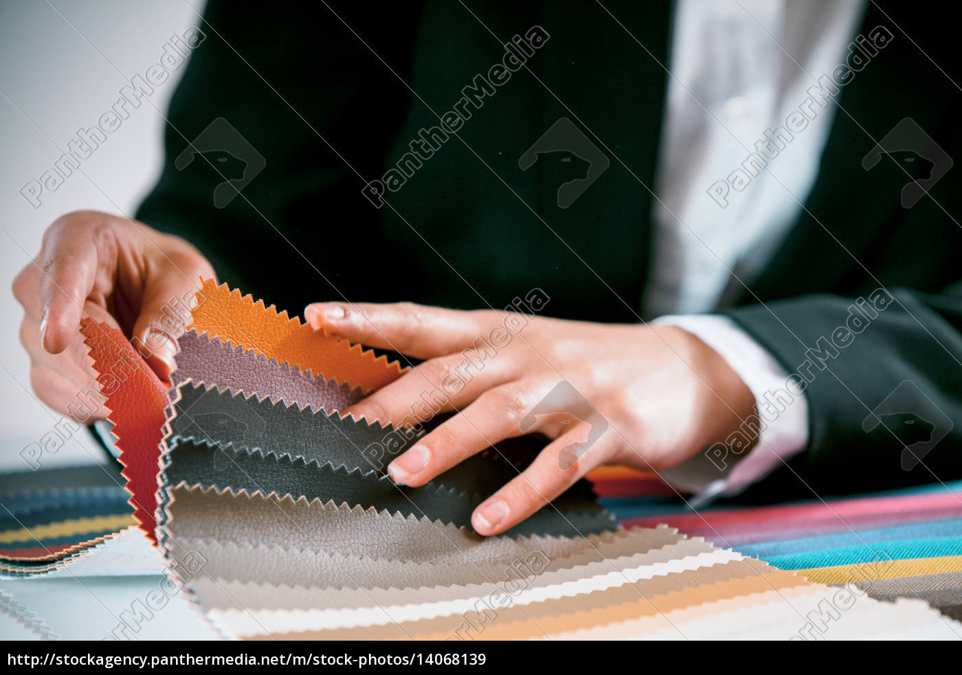 woman, checking, fabric, color, swatches - 14068139