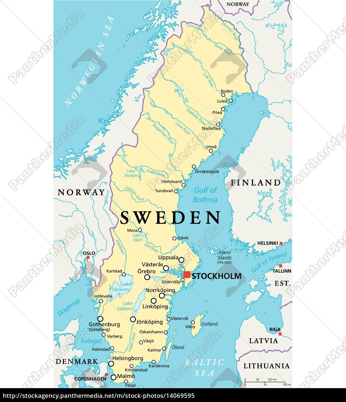 Sweden Political Map Royalty Free Image 14069595