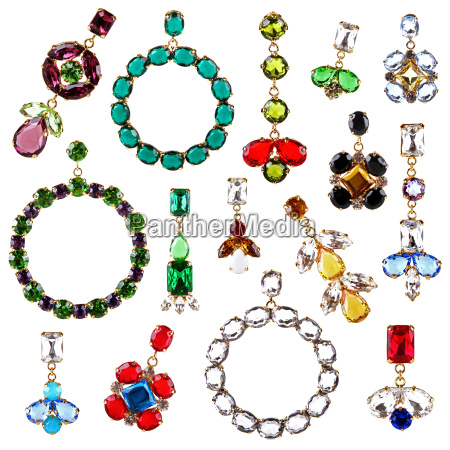 beautiful, colorful, crystal, earrings, collection, isolated - 14069101