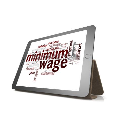 minimum, wage, word, cloud, on, tablet - 14069475