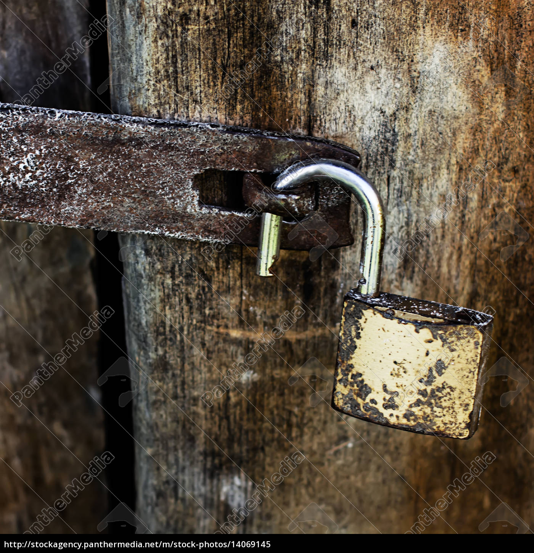 old, rusty, padlock, - 14069145