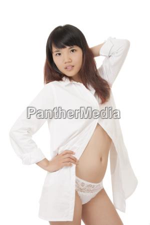 sexy, chinese, woman, wearing, a, white - 14069309