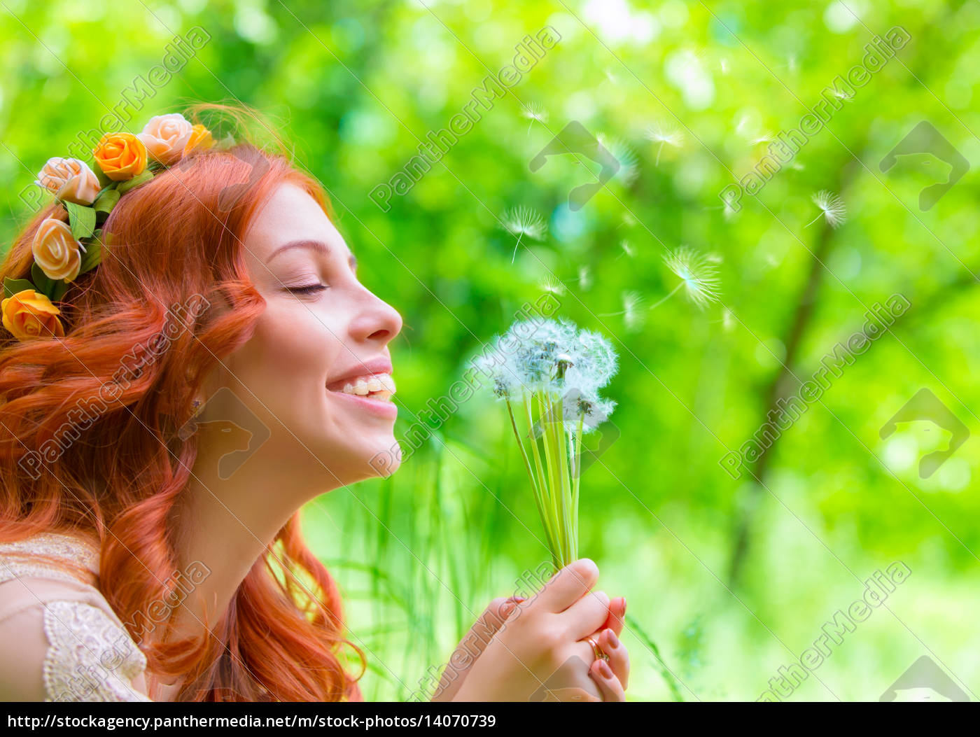 cheerful, female, with, dandelions - 14070739