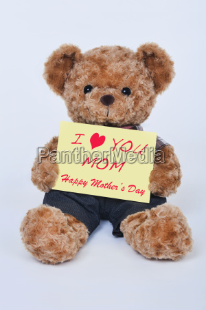 teddy bear holding a yellow sign