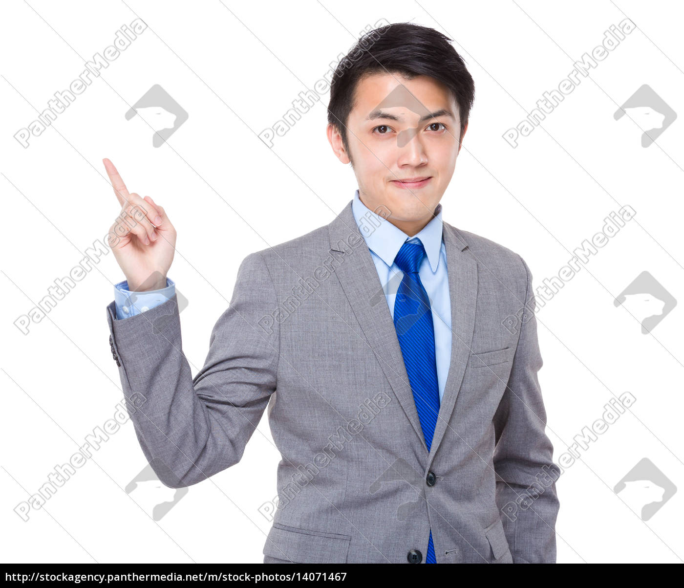 asian, businessman, with, number, one, hand - 14071467