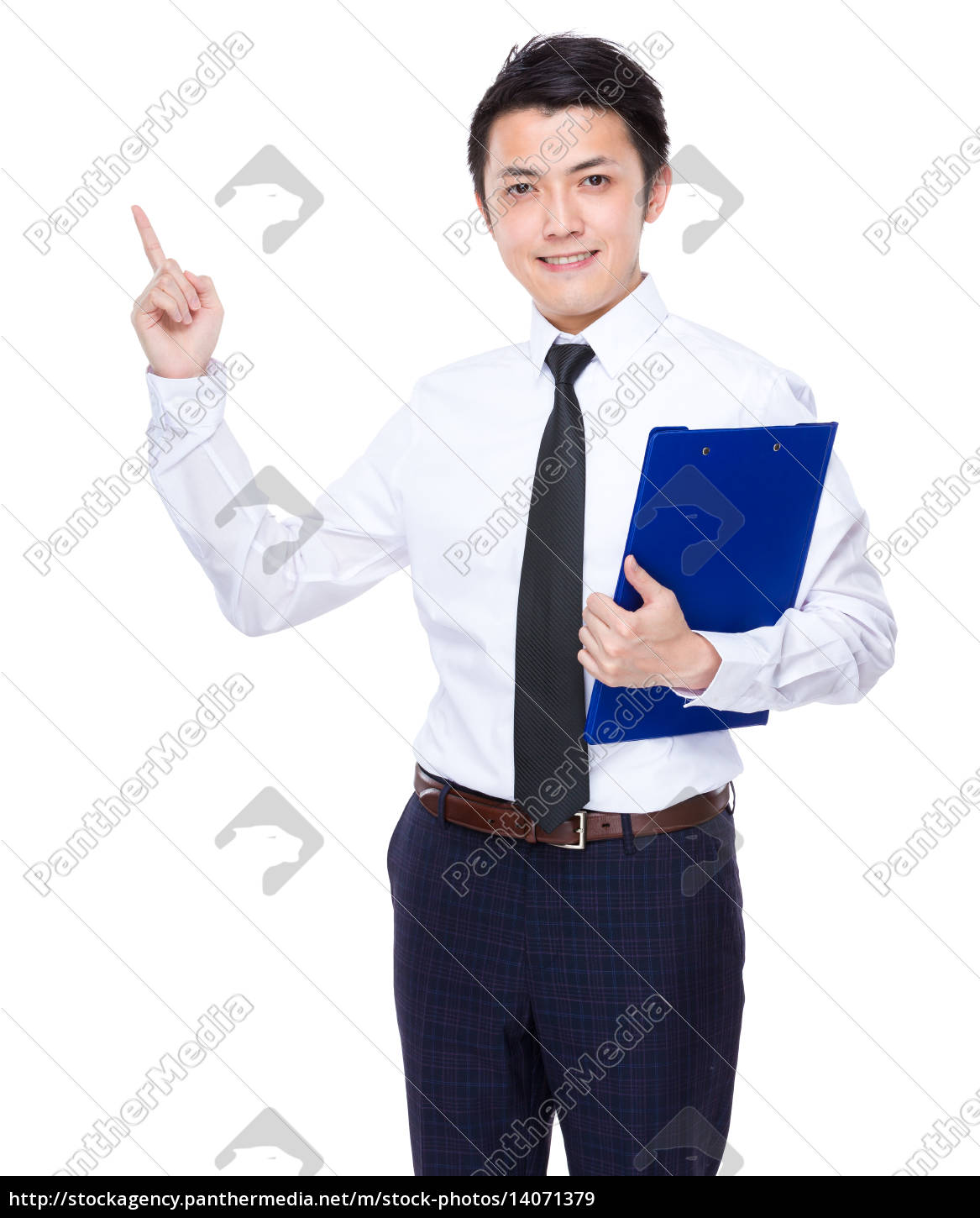businessman, hold, with, clipboard, and, finger - 14071379