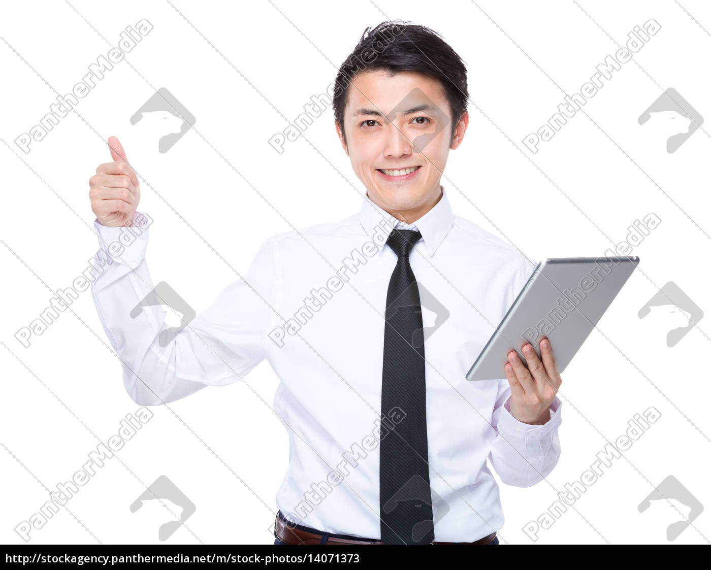 businessman, use, of, tablet, with, thumb - 14071373