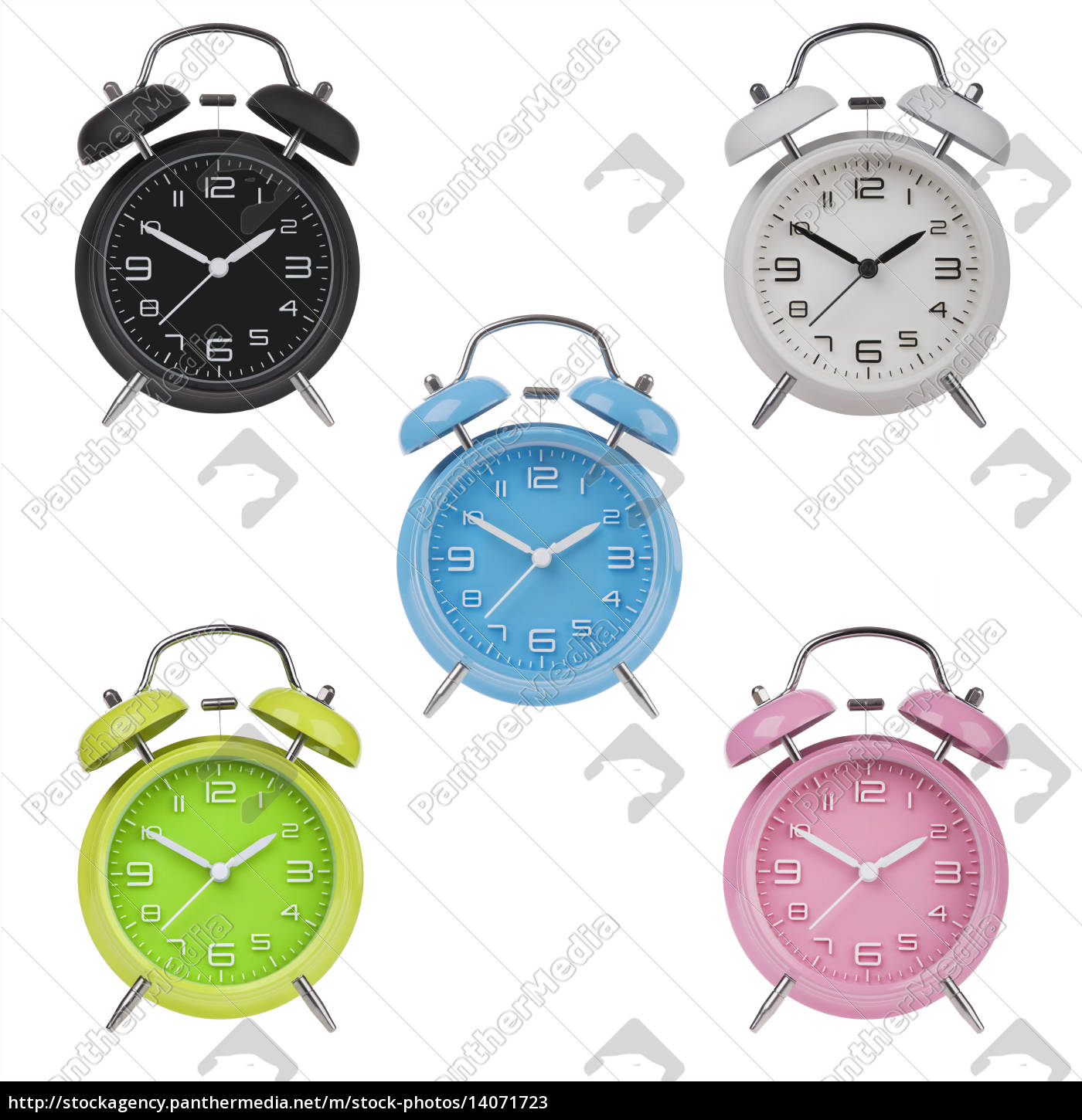 five, alarm, clocks, with, the, hands - 14071723
