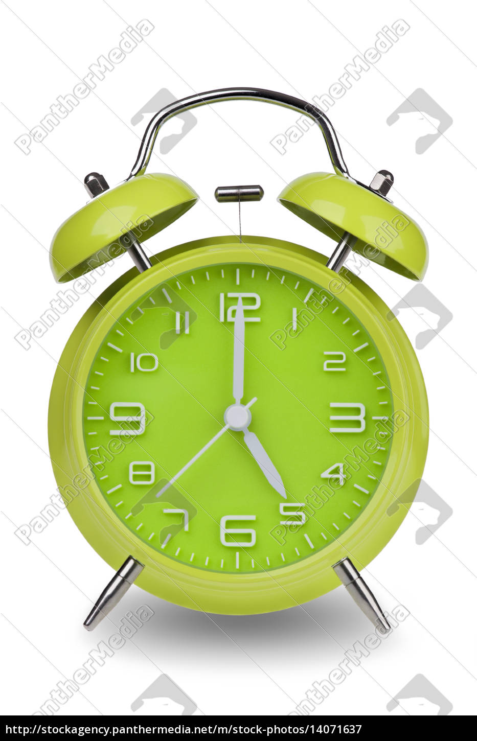 green, alarm, clock, with, hands, at - 14071637