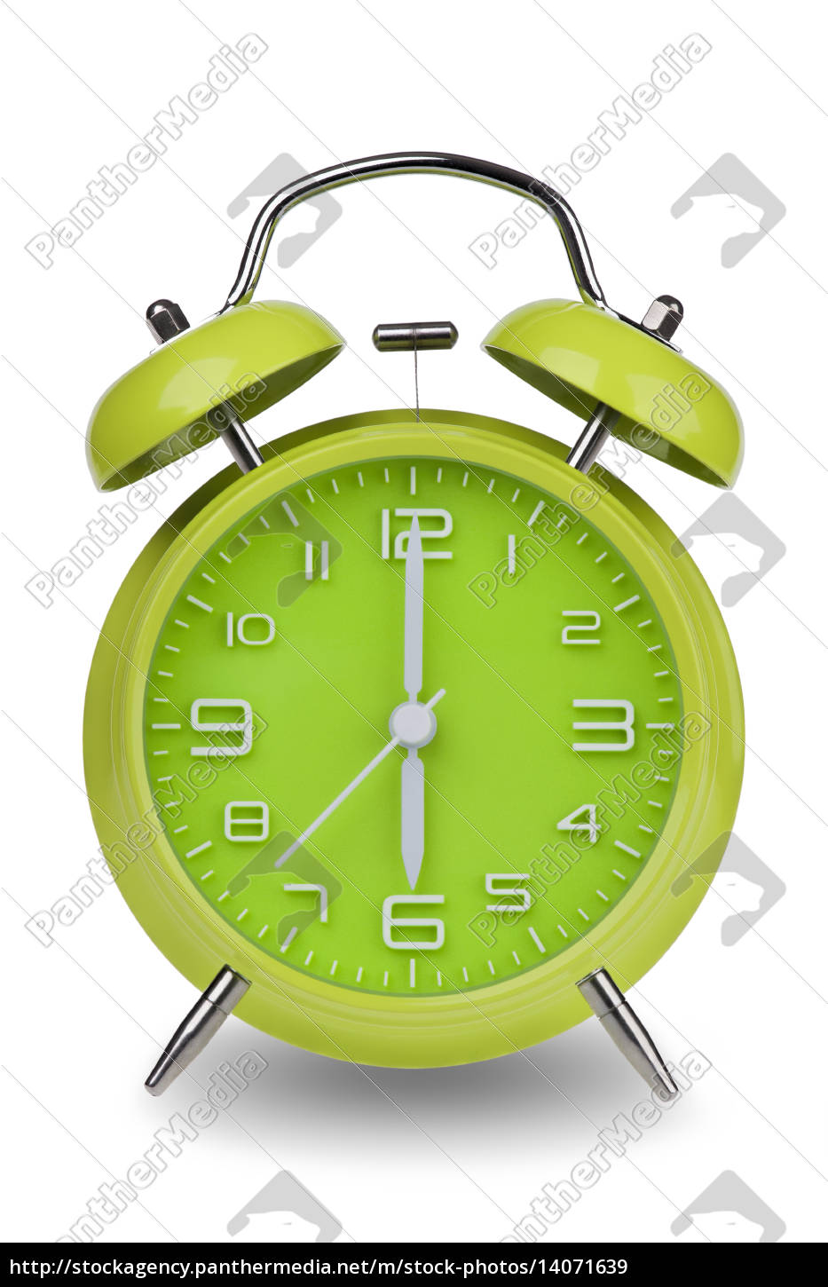 green, alarm, clock, with, hands, at - 14071639