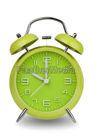 green, alarm, clock, with, hands, at - 14071647