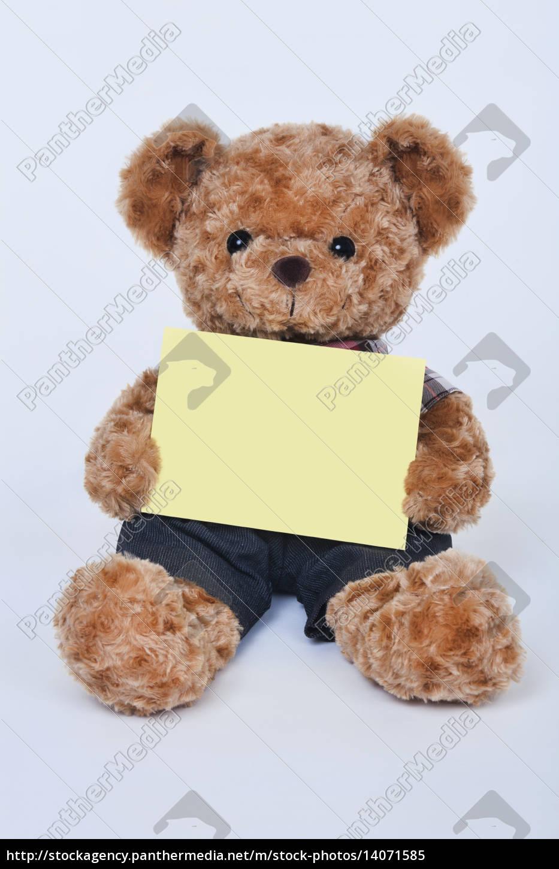 teddy, bear, holding, a, blank, sign - 14071585