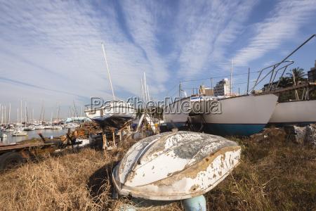 boats yachts abandoned yard