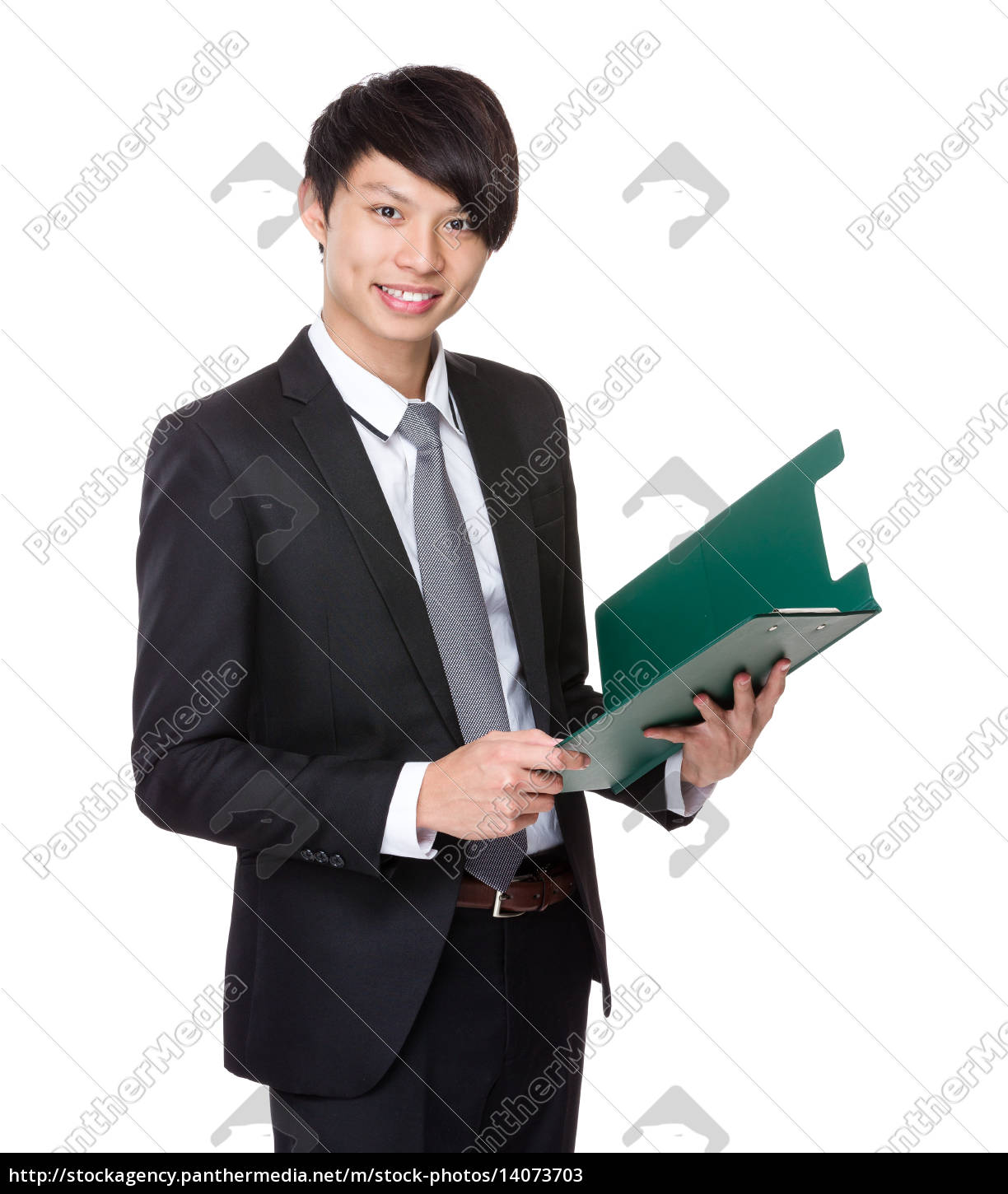 businessman, hold, with, clipboard - 14073703