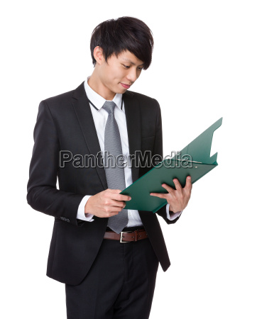 businessman, look, at, clipboard - 14073701