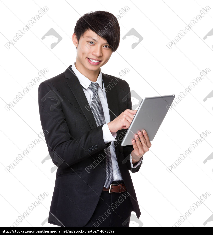 businessman, use, tablet - 14073699