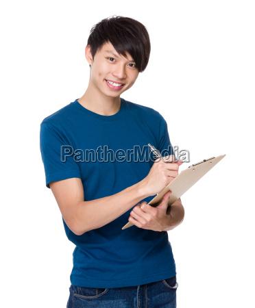 man, write, on, clipboard - 14073639