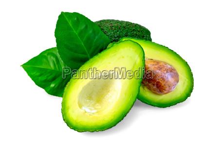 avocado mit blatt und knochen
