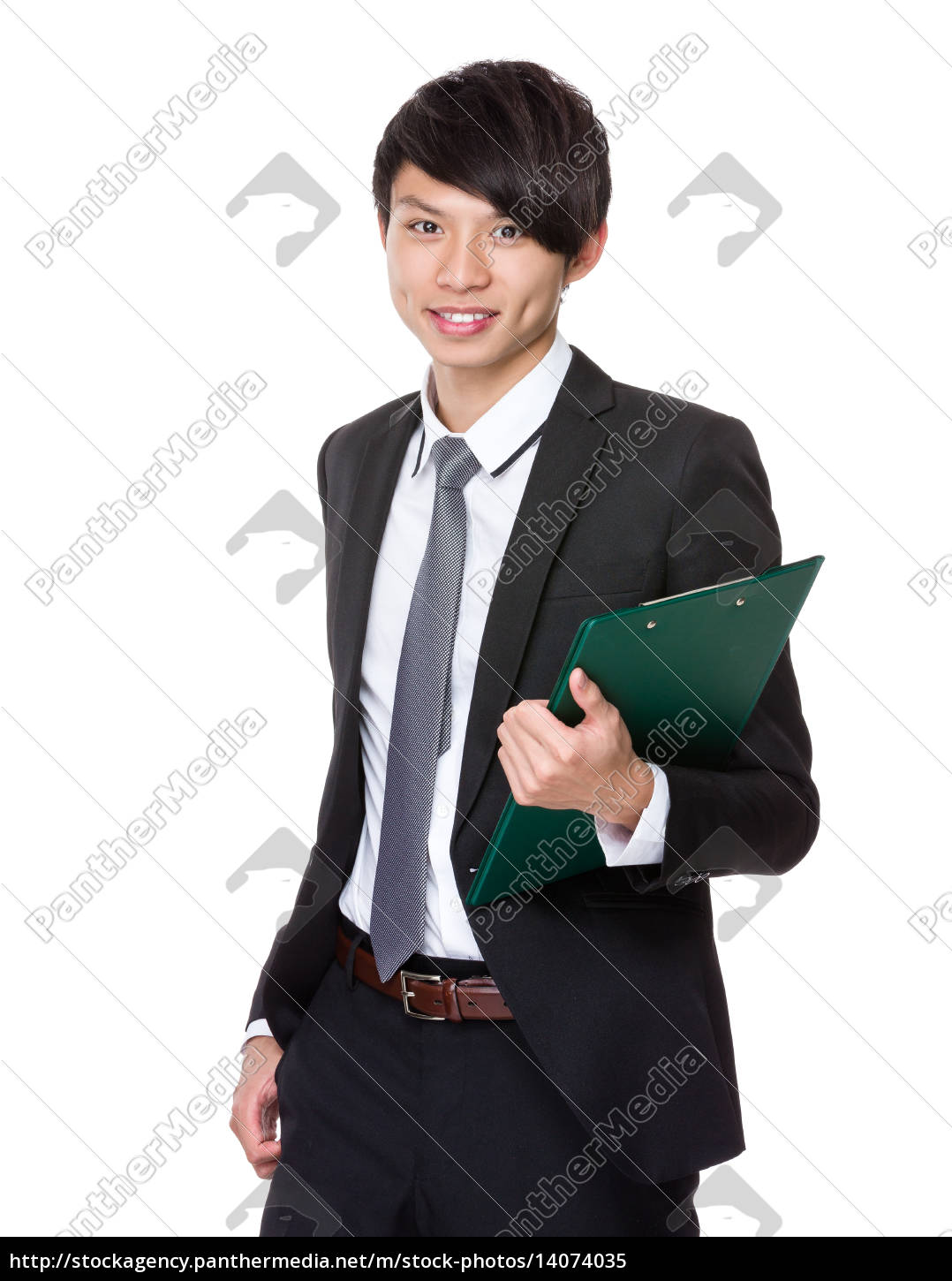 asian, businessman, hold, with, clipboard - 14074035