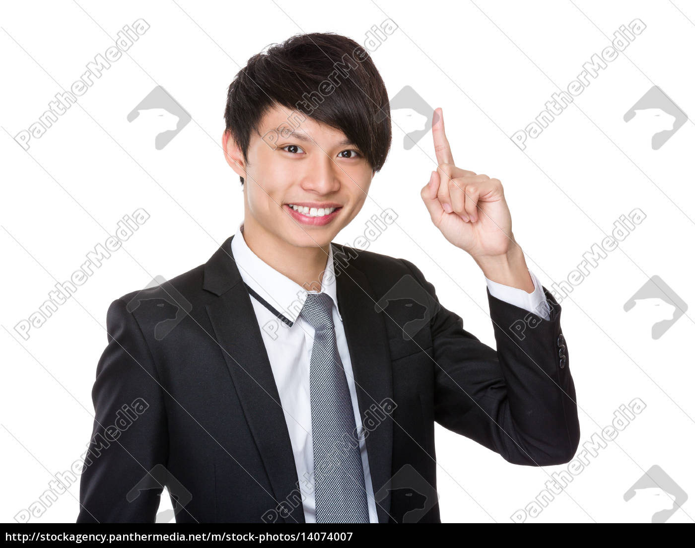 businessman, with, finger, point, up - 14074007