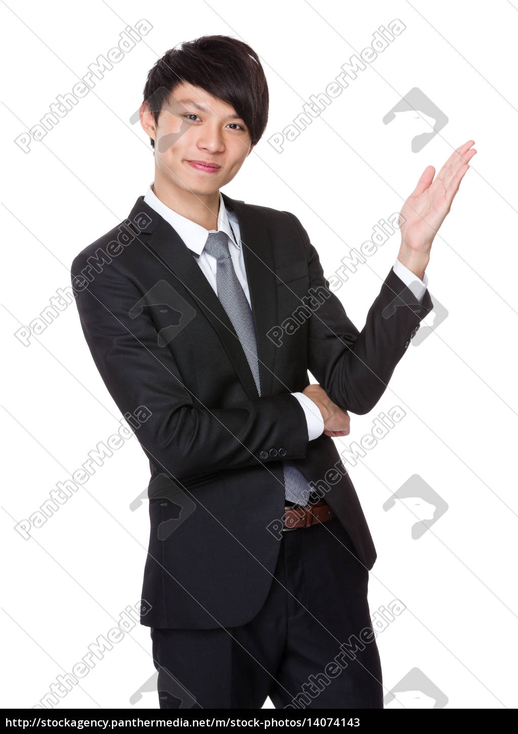 businessman, with, open, hand, palm - 14074143