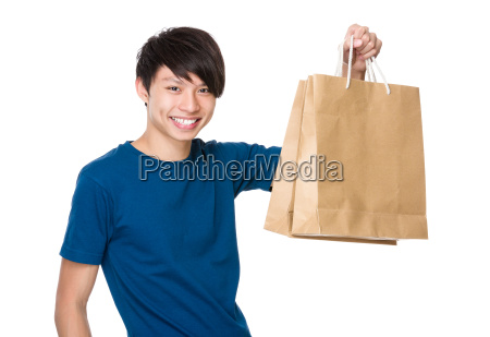 man, hold, with, shopping, bag - 14074089