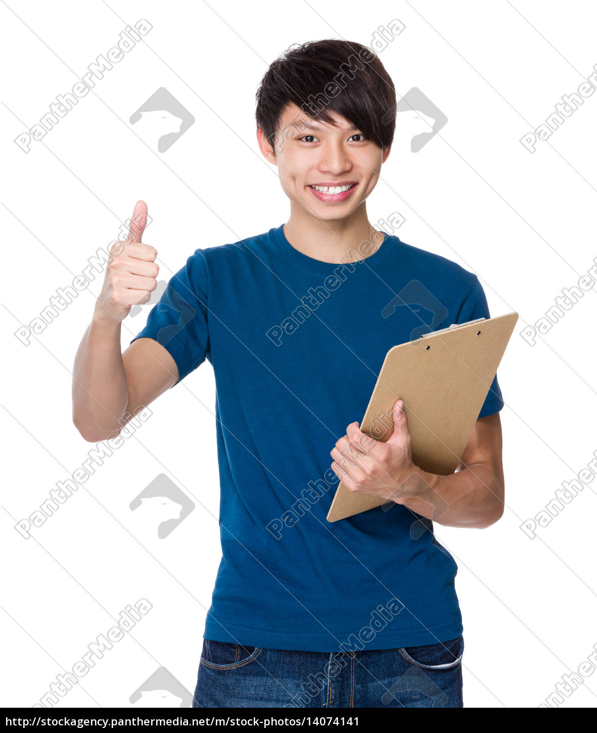 man, with, clipboard, and, thumb, up - 14074141