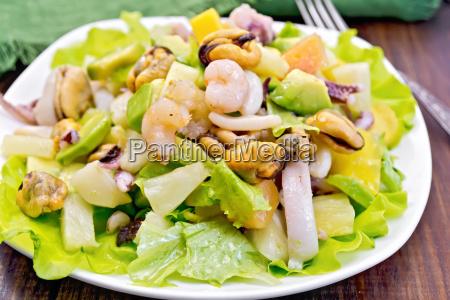 salad, seafood, and, avocado, on, board - 14074907