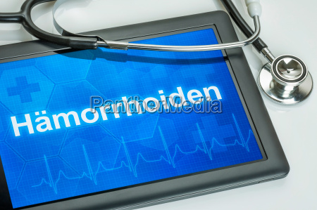 tablet with the diagnosis of hemorrhoids
