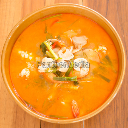 tom yum kung thai spicy seafood