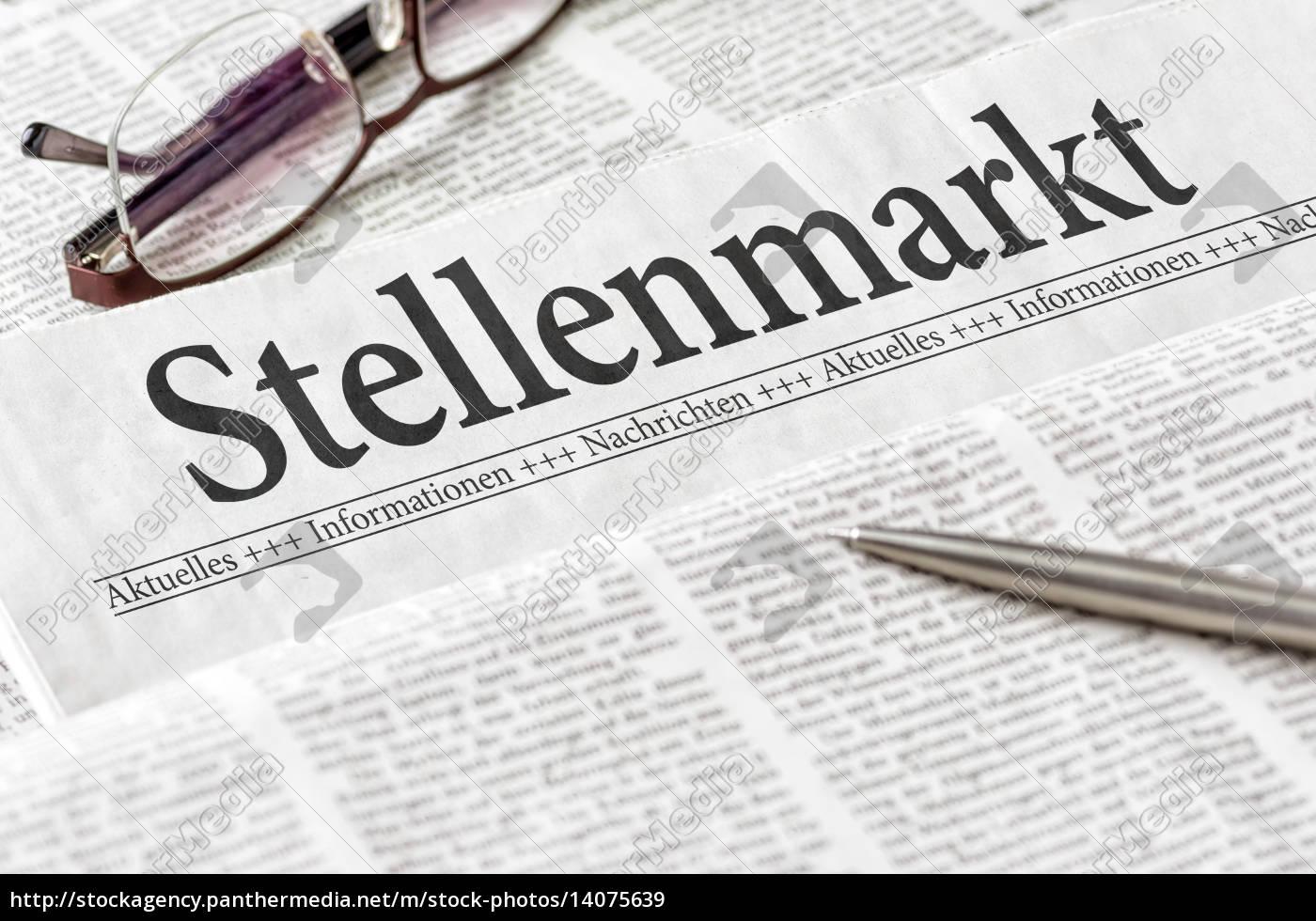 newspaper, with, the, heading, stellenmarkt - 14075639