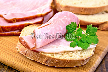 sandwich, with, ham, and, parsley, on - 14075089