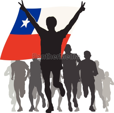athlete with the chile flag at