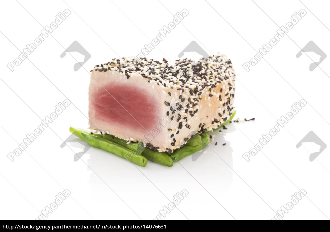 grilled, tuna, steak, isolated, on, white. - 14076631