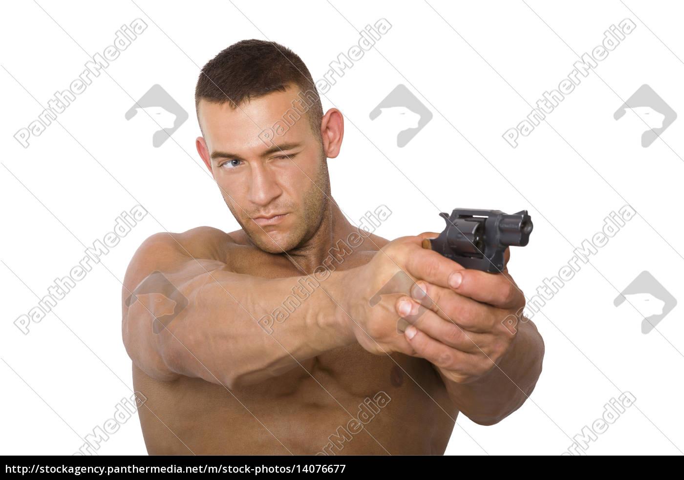 man, with, gun. - 14076677