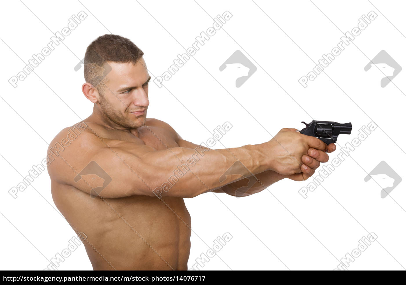 muscular, caucasian, man, with, gun. - 14076717