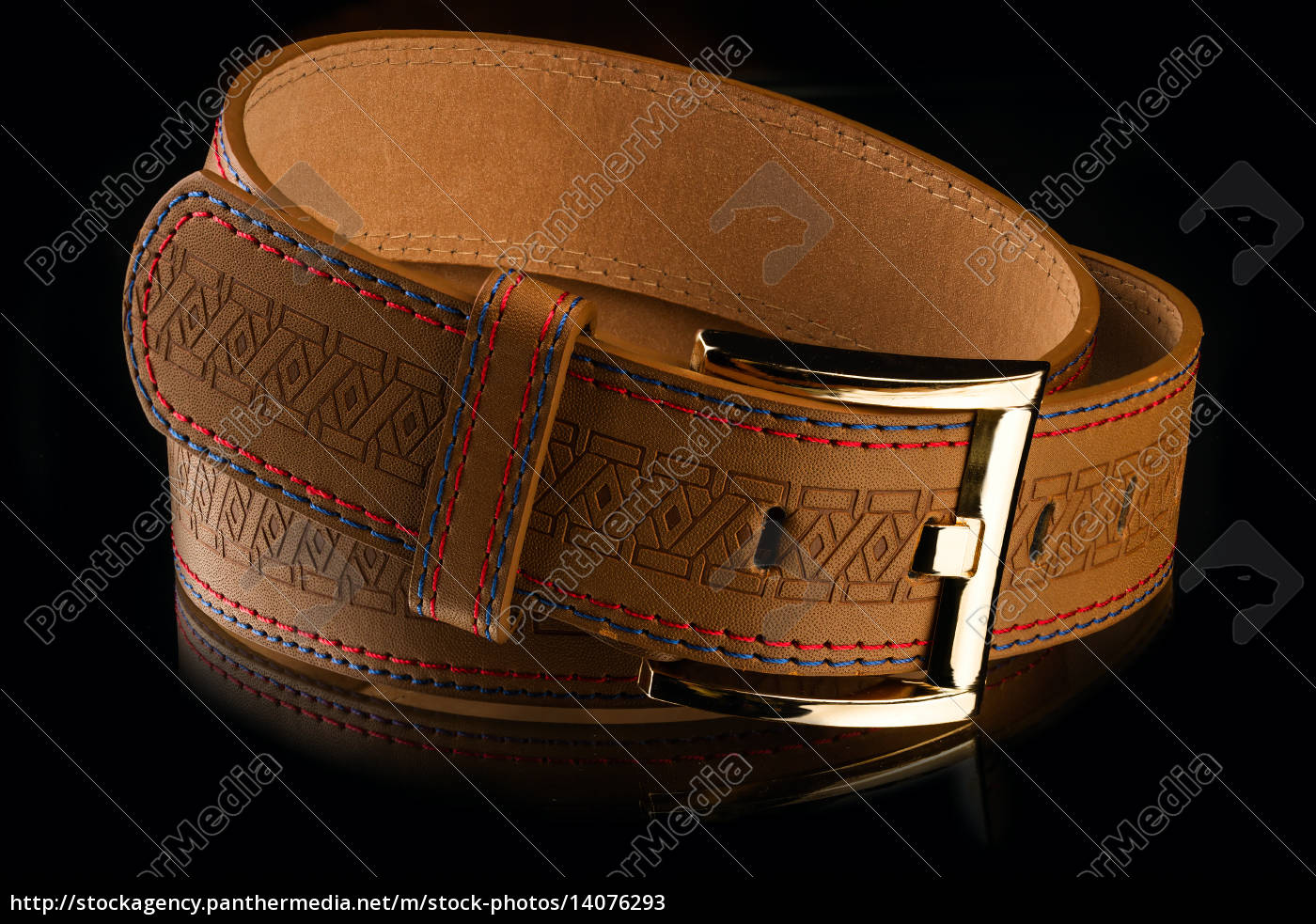 new, stylish, brown, leather, men's, belt - 14076293