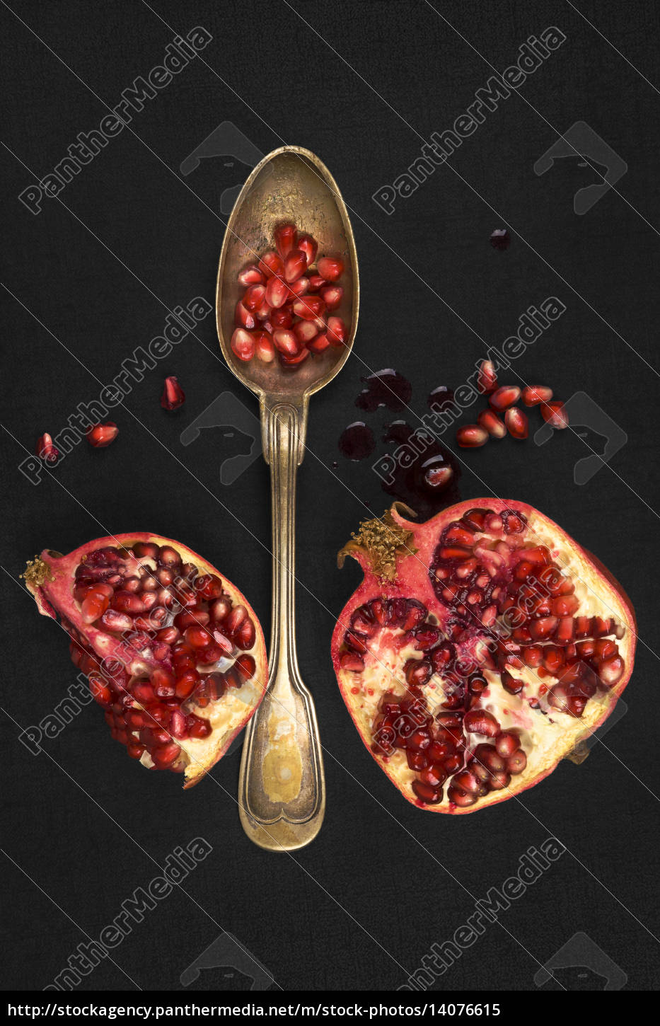 pomegranate, isolated, on, black, background, , top - 14076615
