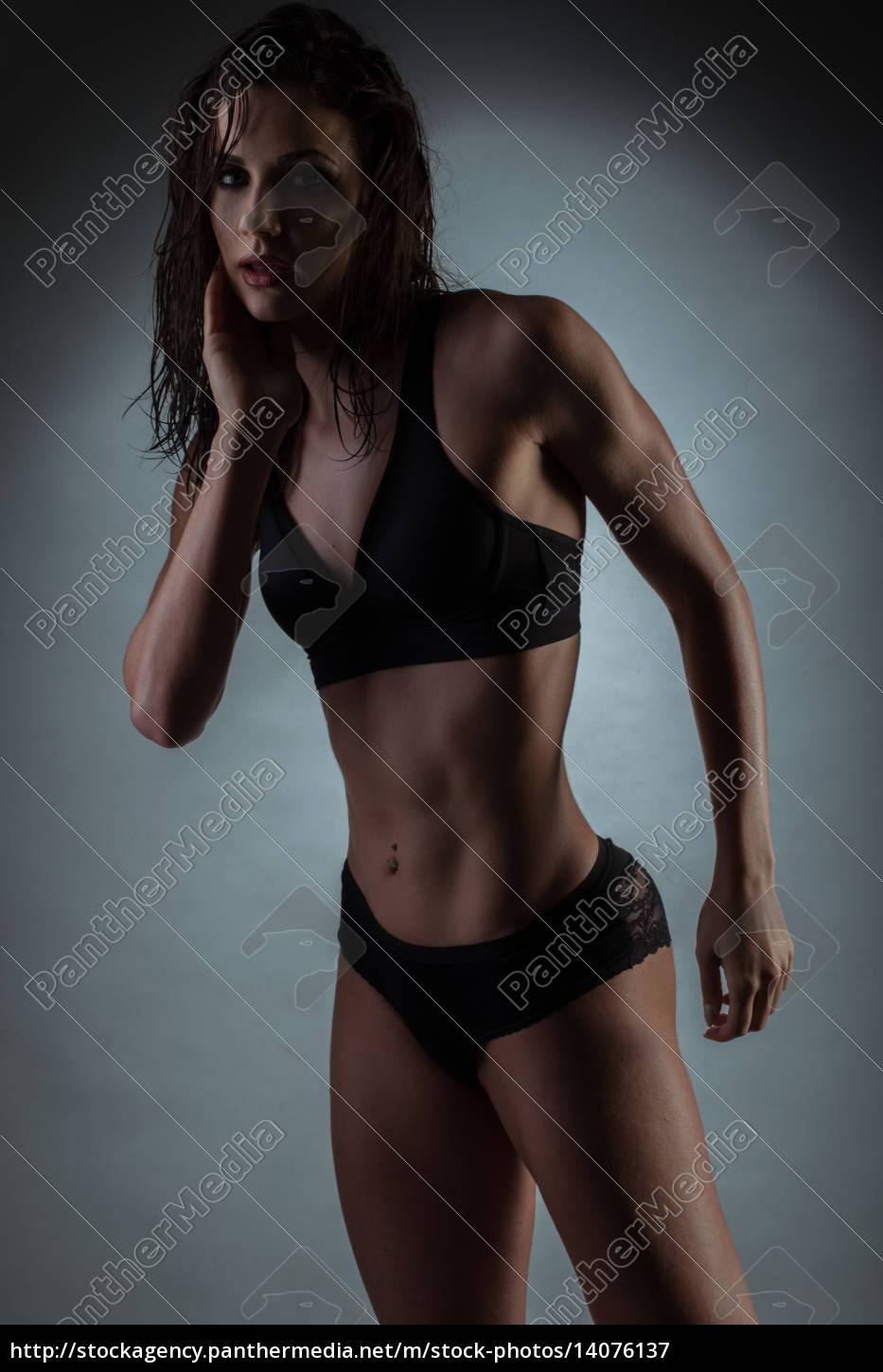 seductive, gym, fit, woman, wearing, black - 14076137