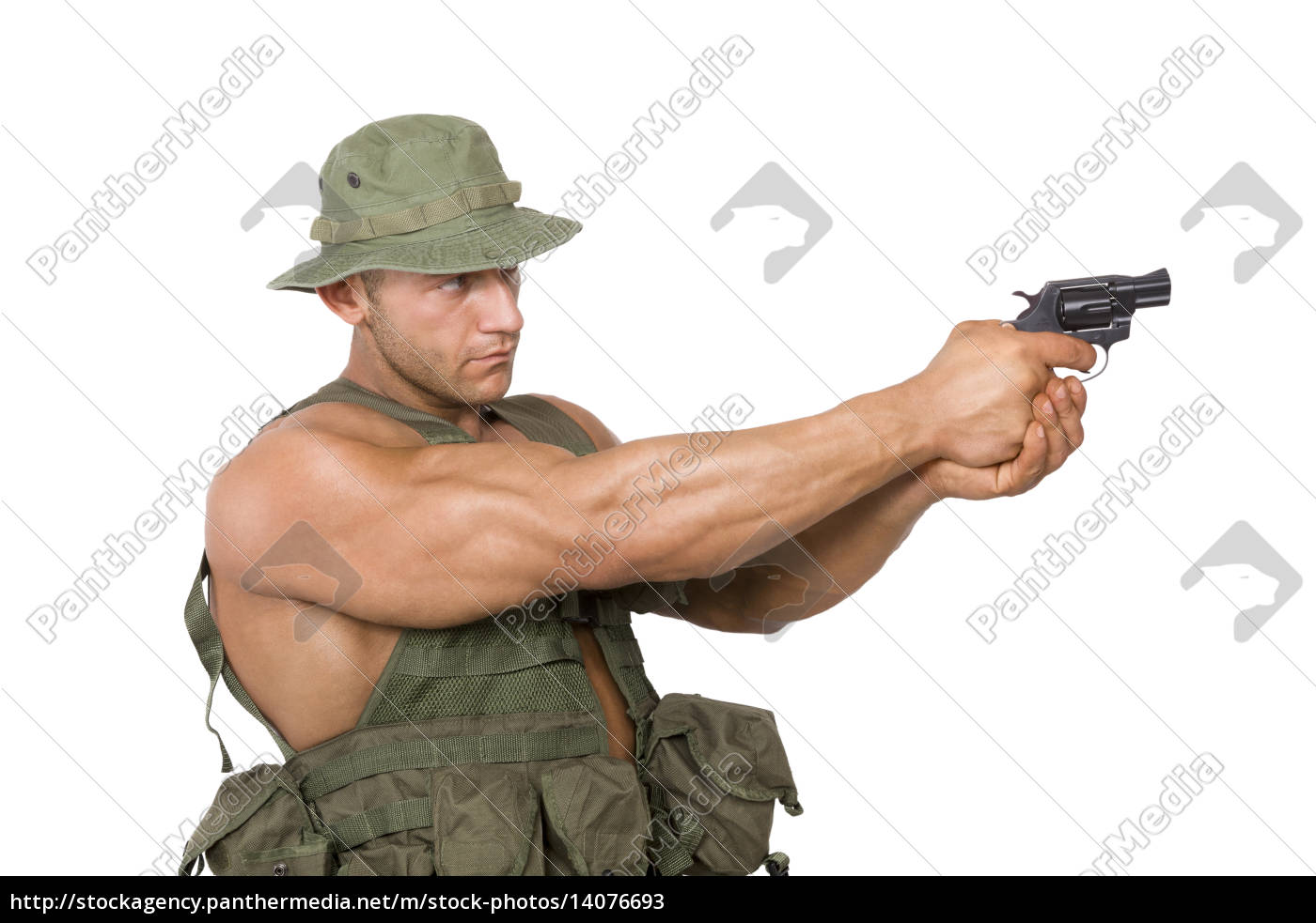 soldier, shooting, isolated, on, white. - 14076693