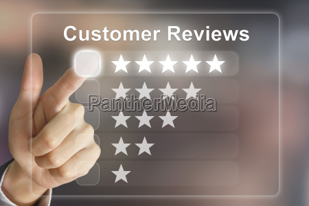 business, hand, pushing, customer, reviews, on - 14077107