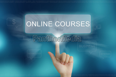 hand, clicking, on, online, courses, button - 14077193