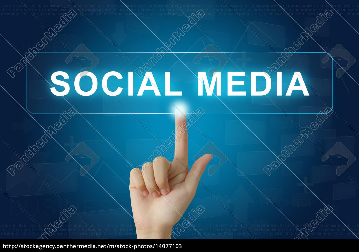hand, press, on, social, media, button - 14077103