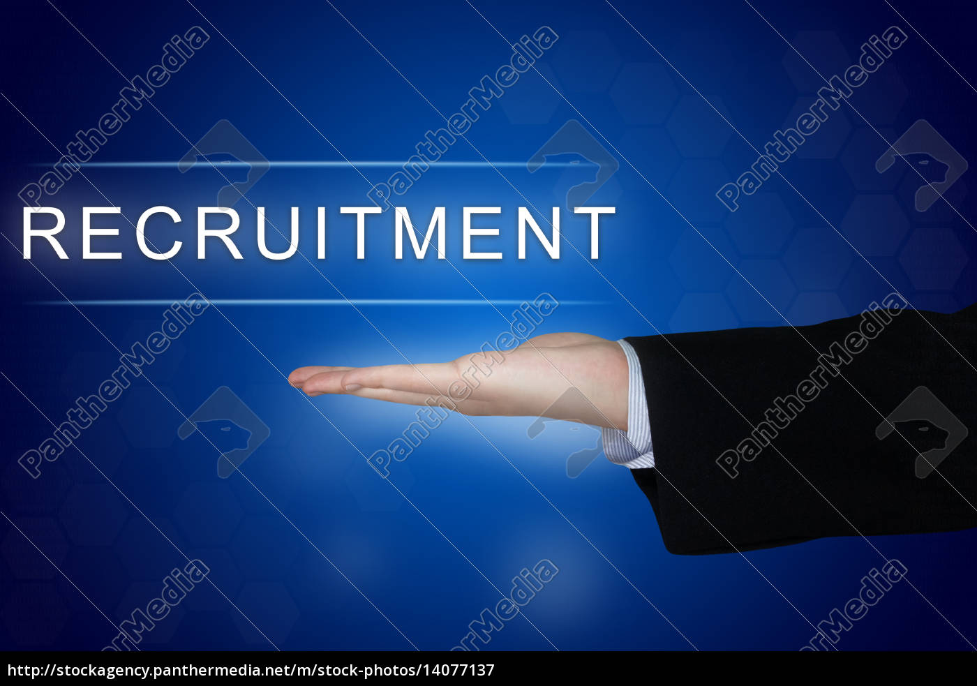 recruitment, button, on, blue, background - 14077137